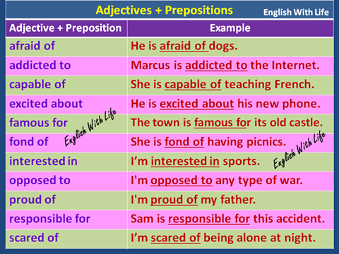 adjective preposition